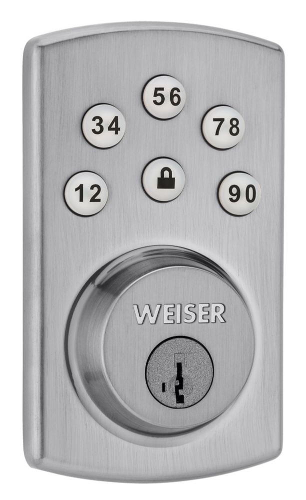 Powerbolt 2.0 Satin Chrome Keyless Entry Keypad Deadbolt