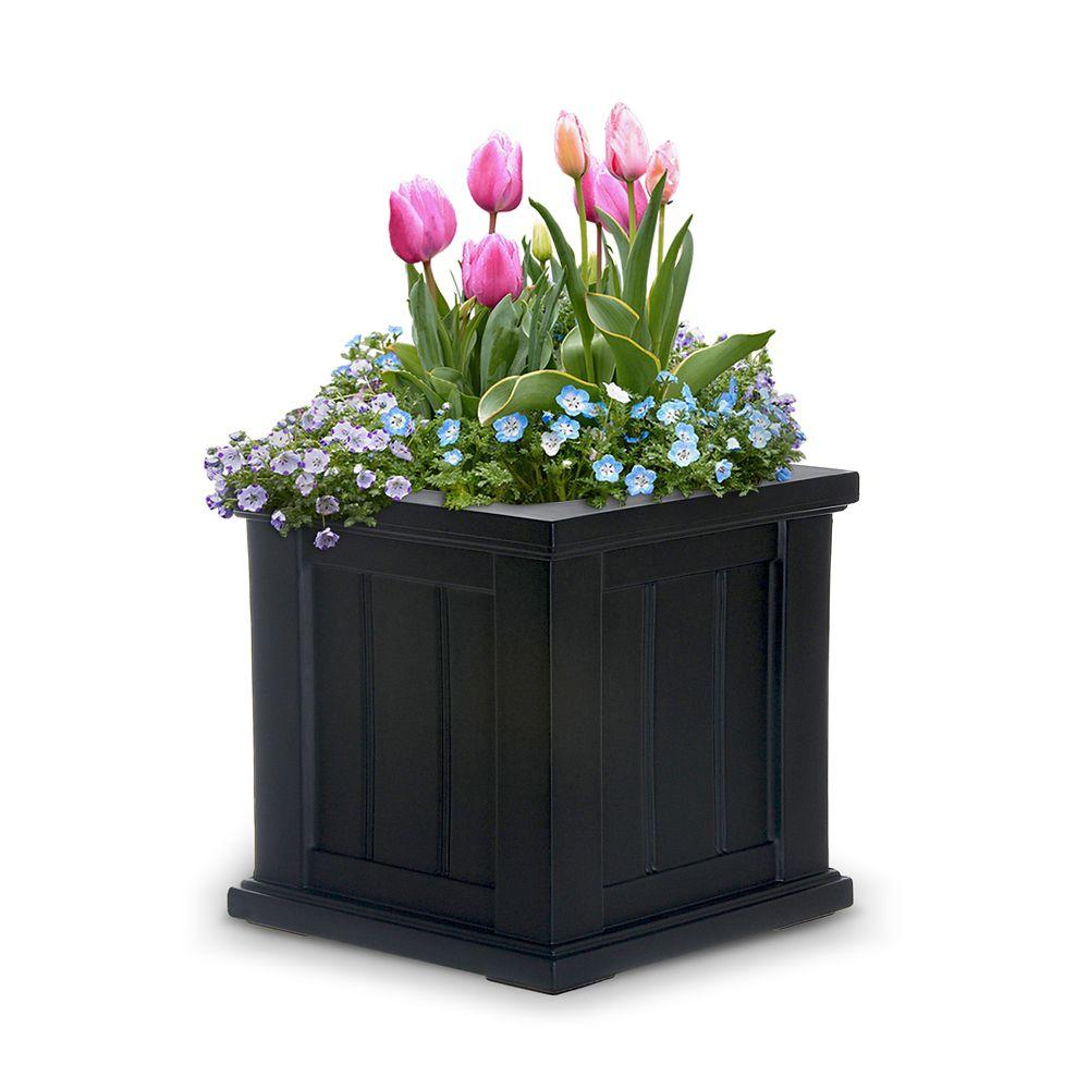 Jardinière pour terrasse Cape Cod 35,5 cm x 35,5 cm noire