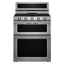 KitchenAid 6.7 cu. ft. Double Oven Dual Fuel Range with Self-Cleaning Convection Oven in Stainless Steel