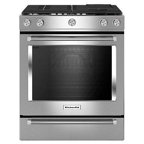 7.1 cu. ft. Slide-In Dual Fuel Range with Self-Cleaning Convection Oven in Stainless Steel