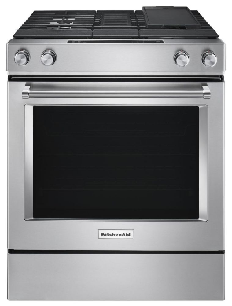 KitchenAid 6.3 cu. ft. Dual Fuel Slide-In Range with Downdraft in Stainless Steel