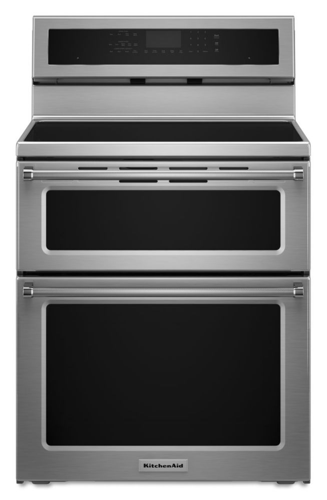 KitchenAid 30-Inch 6.7 cu.ft Double Oven Electric Range with Self-Cleaning Convection Oven in Stainless Steel