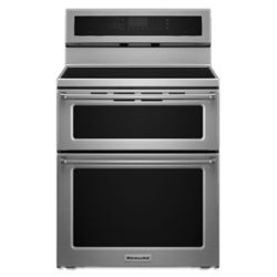 KitchenAid 6.7 cu. Ft. Double Oven Electric Induction Range with Self-Cleaning Convection Oven in Stainless Steel