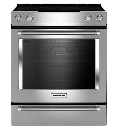 Kitchenaid 30 Inch 6 4 Cu Ft Single Oven Electric Range With Self Cleaning Convection In Stainless Steel The Home Depot Canada