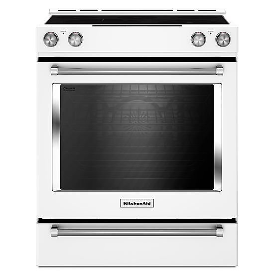 7.1 cu. ft. Slide-In Electric Range with Self-Cleaning Convection Oven in White