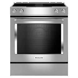 KitchenAid 6.4 cu. ft. Electric Range with Self-Cleaning Convection Oven and Downdraft in Stainless Steel
