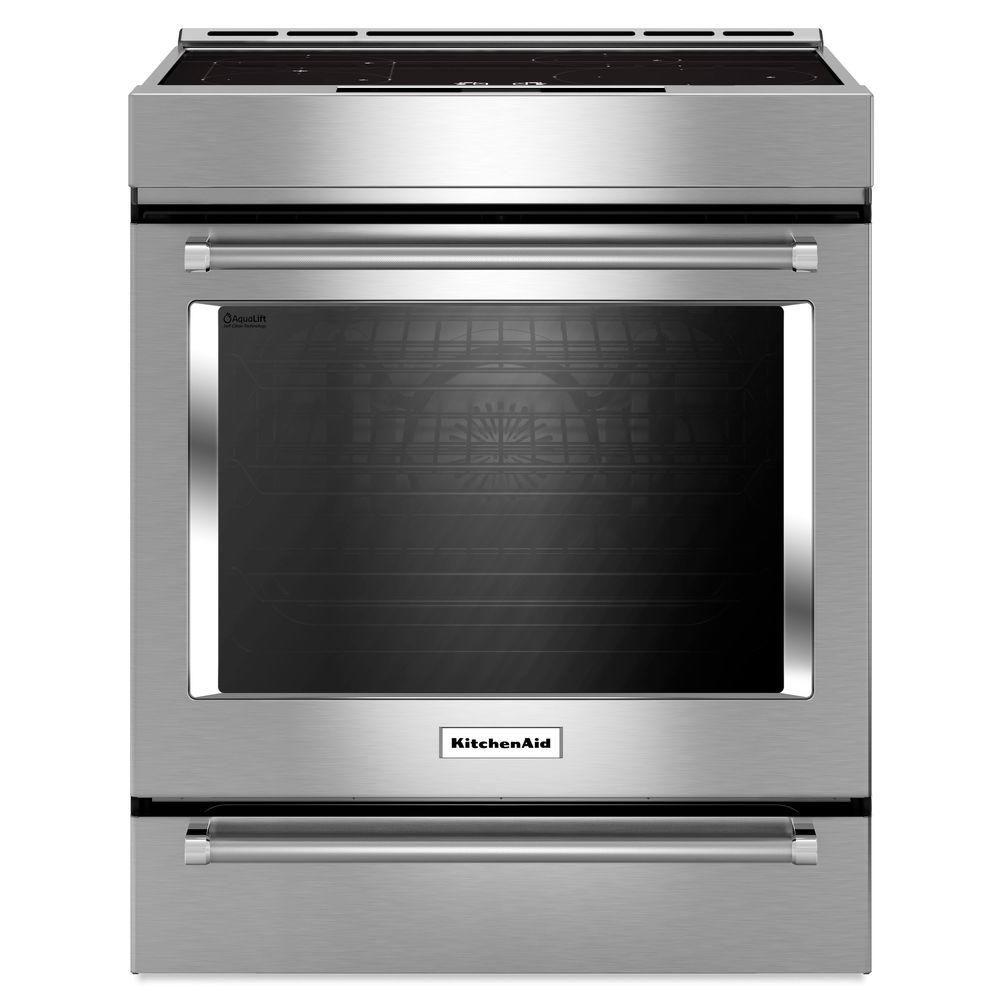 kitchenaid cuisini re induction 4 l ments coulissante avec convection et tiroir de cuisson. Black Bedroom Furniture Sets. Home Design Ideas
