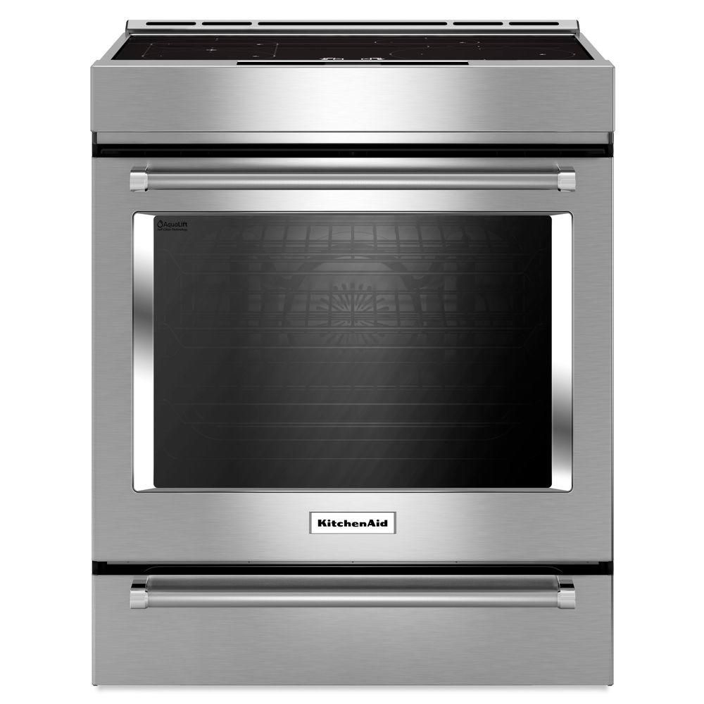 KitchenAid 30-Inch 7.1 cu.ft. Single Oven Electric Range with Self-Cleaning Convection in Stainless Steel