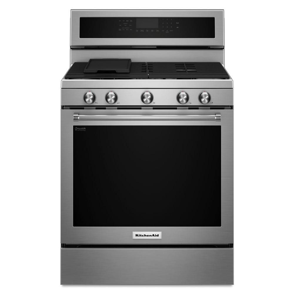 5.8 cu. ft. 5 Burner Gas Convection Range in Stainless Steel
