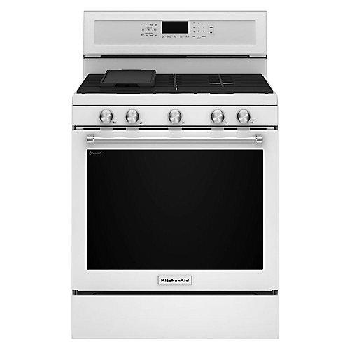 cuisinière à gaz de 5,8 pi3 avec four à convection autonettoyant en blanc