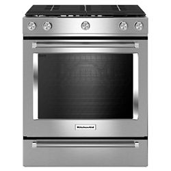 KitchenAid 5.8 cu. ft. Slide-In Gas Range with Self-Cleaning Convection Oven in Stainless Steel
