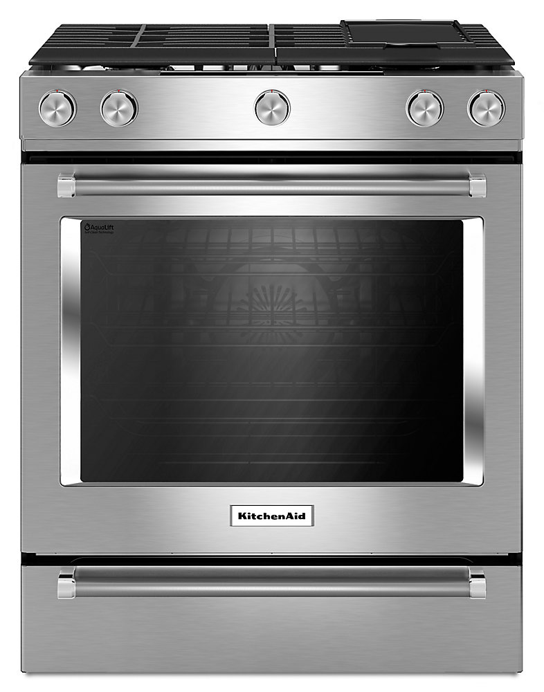 Kitchenaid 6 5 Cu Ft Slide In Gas Range With Self Cleaning Convection Oven Stainless Steel