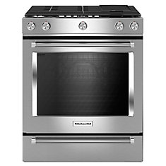 6.5 cu. ft. Slide-In Gas Range with Self-Cleaning Convection Oven in Stainless Steel