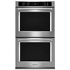 30-inch 10 cu. ft. Double Electric Wall Oven Self-Cleaning with Convection in Black Stainless Steel
