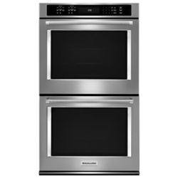KitchenAid 30-inch 10 cu. ft. Double Electric Wall Oven Self-Cleaning with Convection in Black Stainless Steel