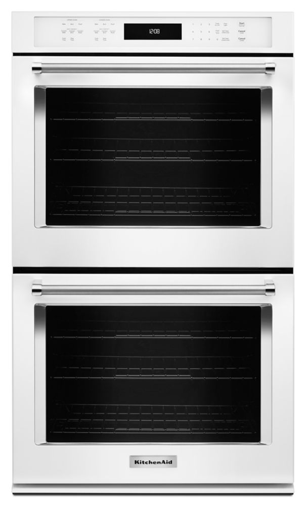 KitchenAid 30-inch 10 cu. ft. Double Electric Wall Oven with Convection in White Ice
