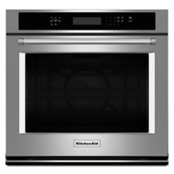 KitchenAid 30-inch 5.0 cu. ft. Single Electric Wall Oven Self-Cleaning with Convection in Stainless Steel