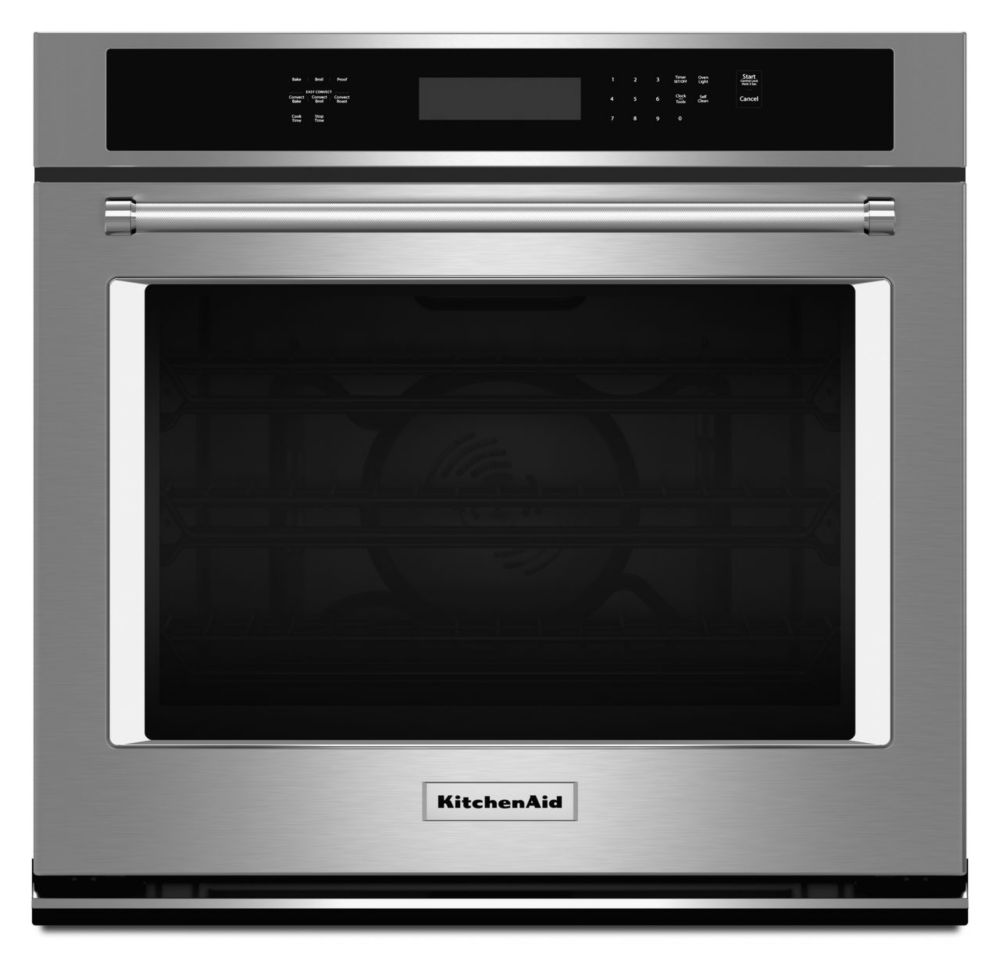 KitchenAid 27-inch 4.3 cu. ft.Electric Single Wall Oven with Even-Heat True Convection in Stainless Steel