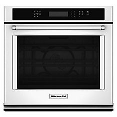 27-inch 4.3 cu. ft. Single Electric Wall Oven Self-Cleaning with Convection in White