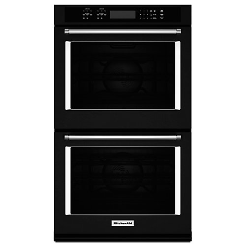 27-inch 8.6 cu. ft. Double Electric Wall Oven Self-Cleaning with Convection in Black