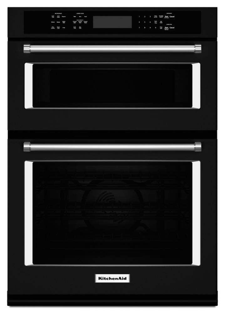 KitchenAid 30-inch 5.0 cu. ft. Double Electric Wall Oven Self-Cleaning with Convection in Black