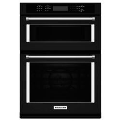 KitchenAid 30-inch 5.0 cu. ft. Double Electric Wall Oven & Microwave with Convection in Black