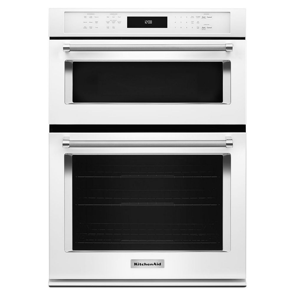 KitchenAid 30-inch 5.0 cu. ft. Double Electric Wall Oven & Microwave with Convection in White