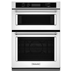 KitchenAid 27-inch 4.3 cu. ft. Double Electric Wall Oven & Microwave with Convection in White