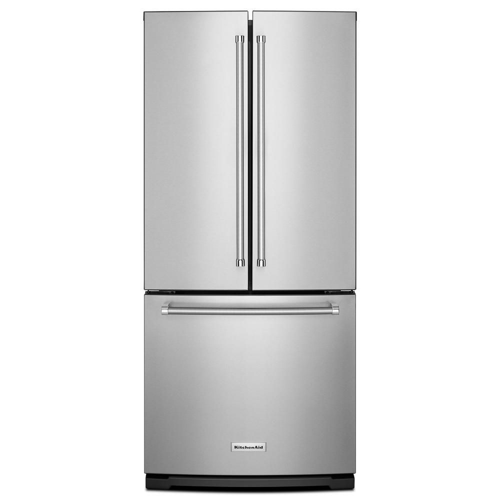 KitchenAid 19.7 cu. ft. Standard-Depth French Door Refrigerator with Interior Dispenser in Stainless Steel