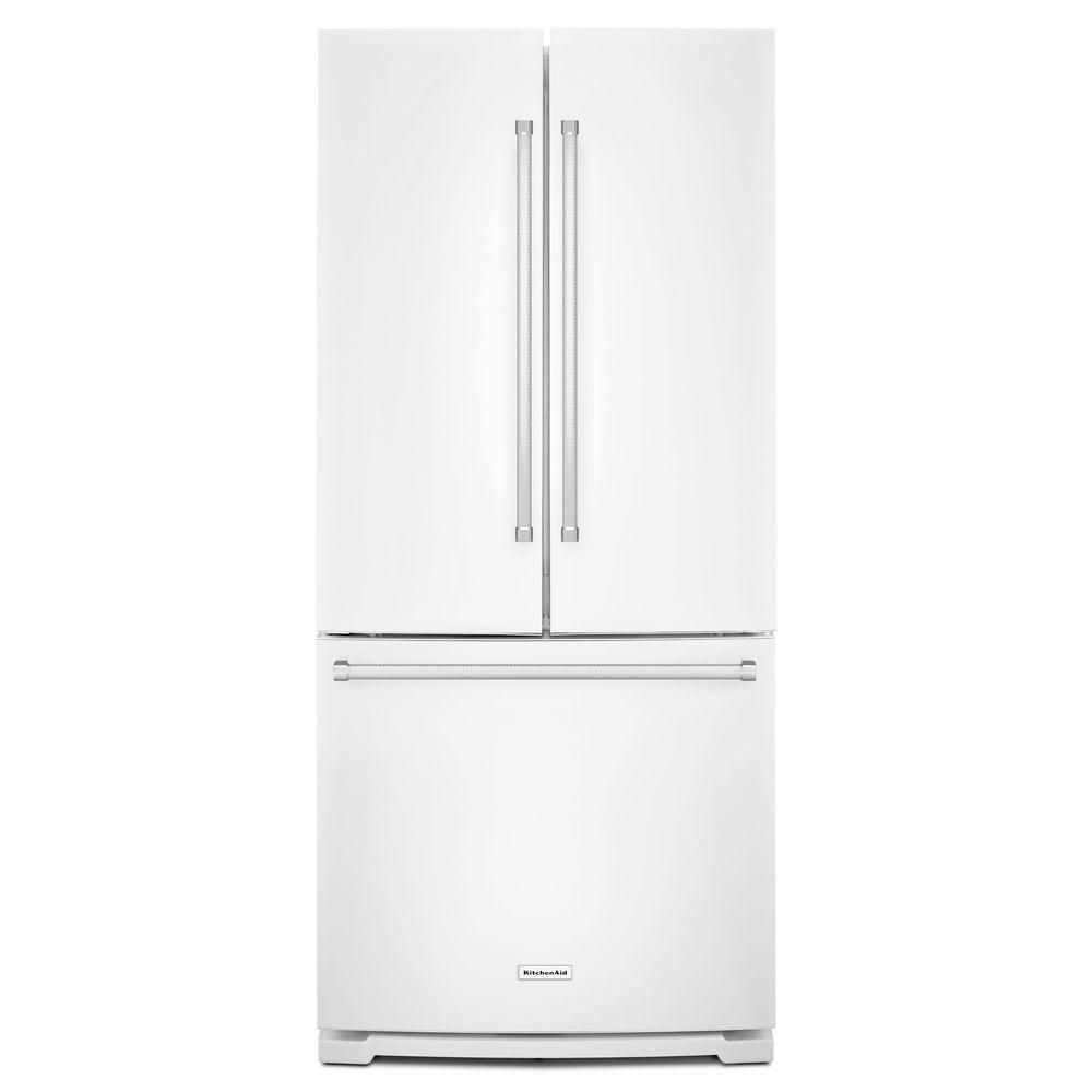 Kitchenaid 30 19 7 Cu Ft French Door Refrigerator With: Kitchenaid 19.7 Cu. Ft. Standard-Depth French Door Refrigerator With Interior Dispenser In White