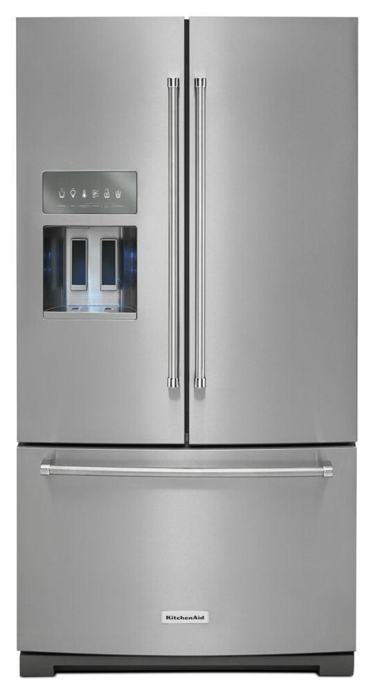 26.8 cu. ft. Standard-Depth French Door Refrigerator with Exterior Ice and Water in Stainless Ste...
