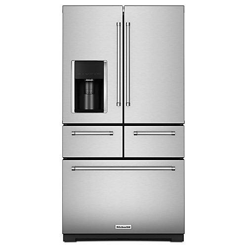 36-inch W 25.8 cu. ft. Multi-Door French Door Refrigerator in Stainless Steel with Platinum Interior