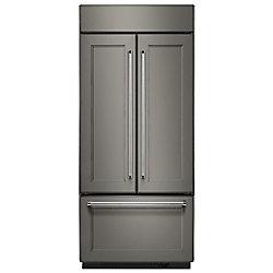 Réfrigérateur encastré à porte française encastrée de 36 po L 20,8 pi3 avec intérieur en platine, prêt pour les panneaux