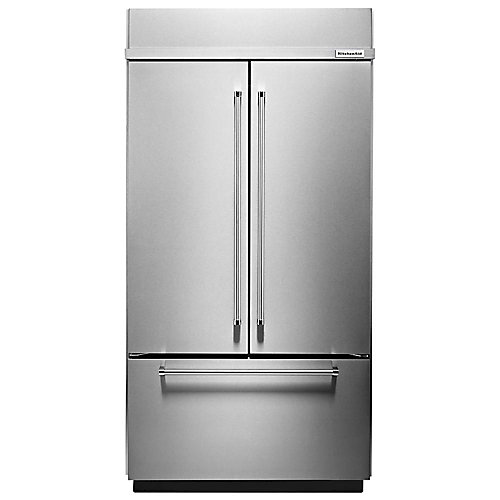 36-inch W 20.8 cu. ft. Built-In French Door Refrigerator in Stainless Steel with Platinum Interior