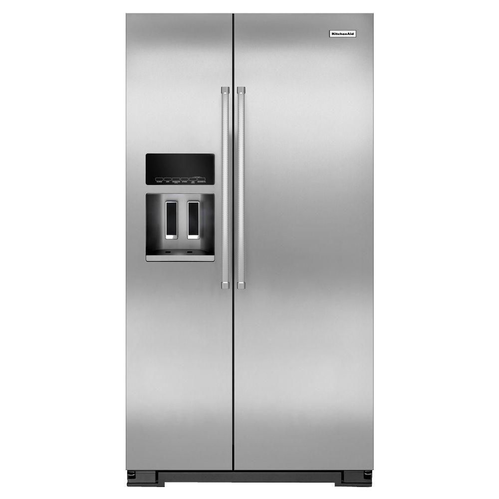 19.9 cu. ft. Counter-Depth Side-by-Side Refrigerator with Exterior Ice and Water in Stainless Ste...