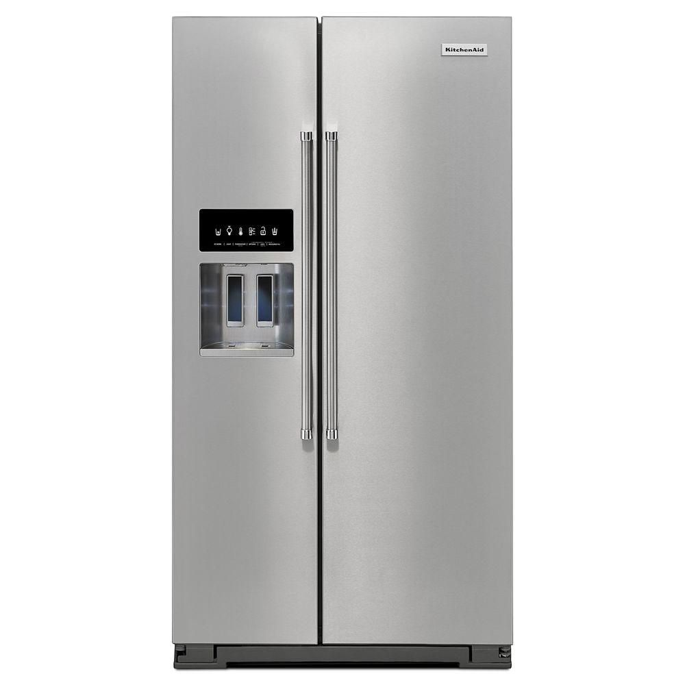 KitchenAid 24.8 cu. ft. Standard-Depth Side-by-Side Refrigerator with Exterior Ice and Water in Stainless Steel - ENERGY STAR®