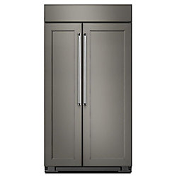 Réfrigérateur encastrable côte à côte de 42 po W 25,5 pi3 Prêt à l'emploi en panneau