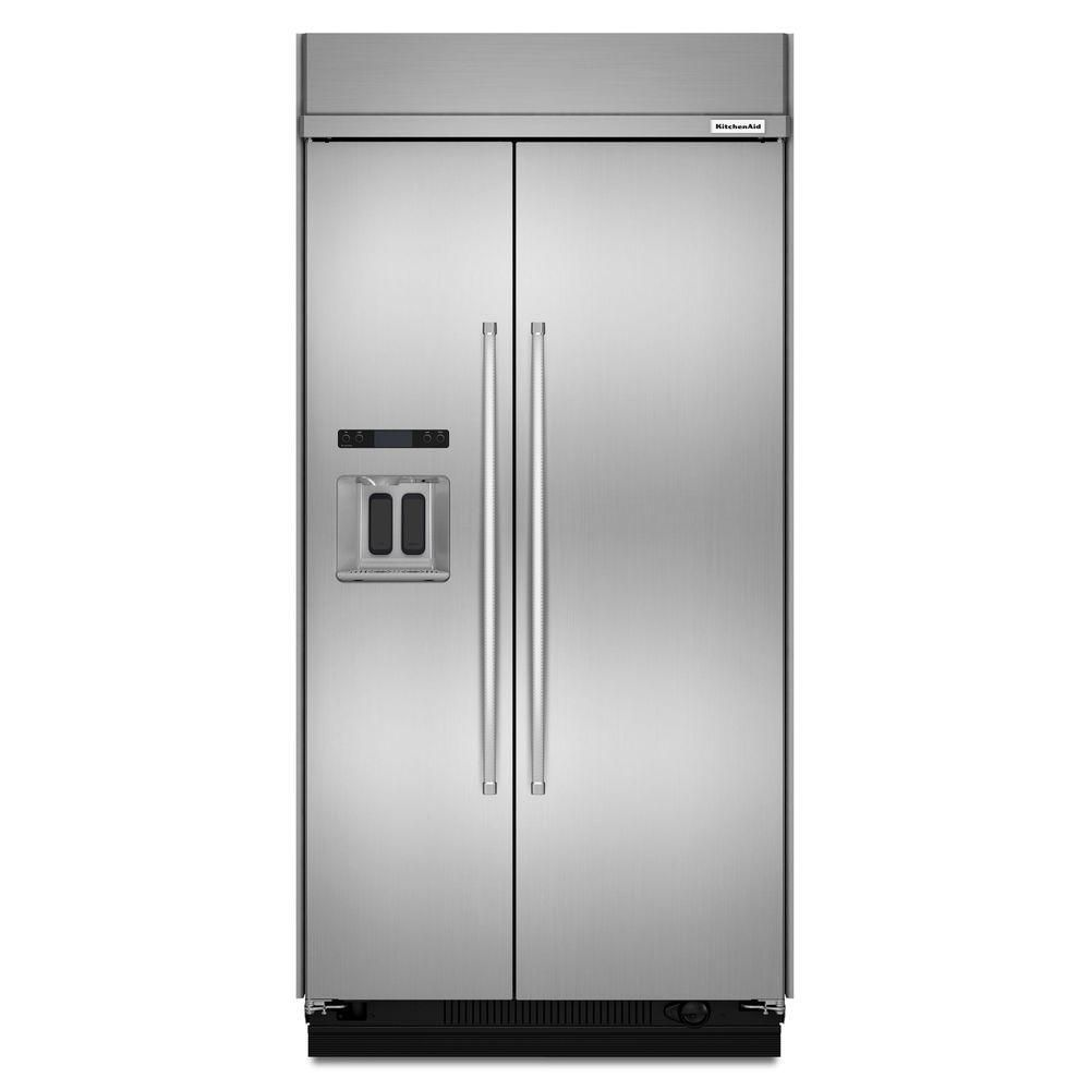 Kitchenaid Black Stainless Steel Side By Side Refrigerator: KitchenAid 29.5 Cu. Ft. Built-In Side-by-Side Refrigerator In Stainless Steel