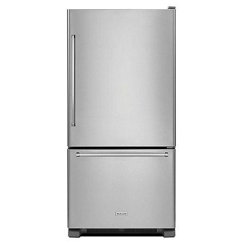KitchenAid 30-inch W 19 cu. ft. Bottom Freezer Refrigerator in Stainless Steel - ENERGY STAR®
