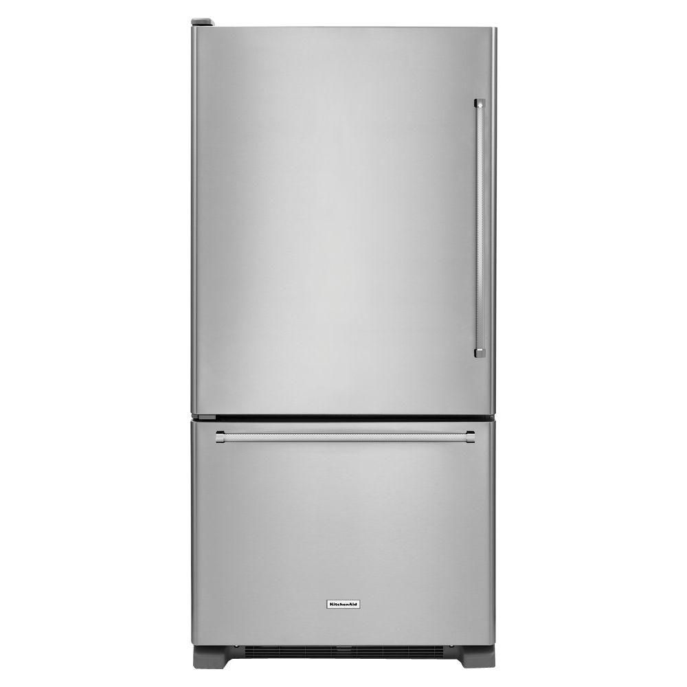 KitchenAid 22.1 cu. ft. Full-Depth Refrigerator with Bottom Mount Freezer in Stainless Steel - ENERGY STAR®