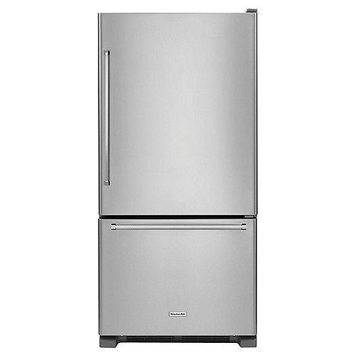 KitchenAid 33-inch W 22.1 cu. ft. Bottom Freezer Refrigerator in Stainless Steel - ENERGY STAR®