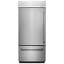 KitchenAid 36-inch W 20.9 cu. ft. Built-In Bottom Freezer Refrigerator in Stainless Steel with Platinum Interior - ENERGY STAR®