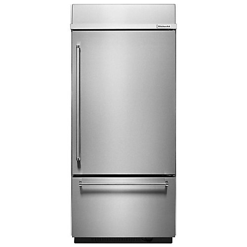 36-inch W 20.9 cu. ft. Built-In Bottom Freezer Refrigerator in Stainless Steel with Platinum Interior - ENERGY STAR®
