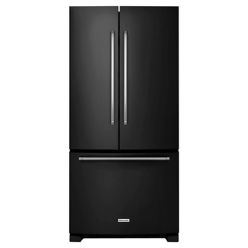22.1 cu. ft. Standard-Depth French Door Refrigerator with Interior Dispenser in Black