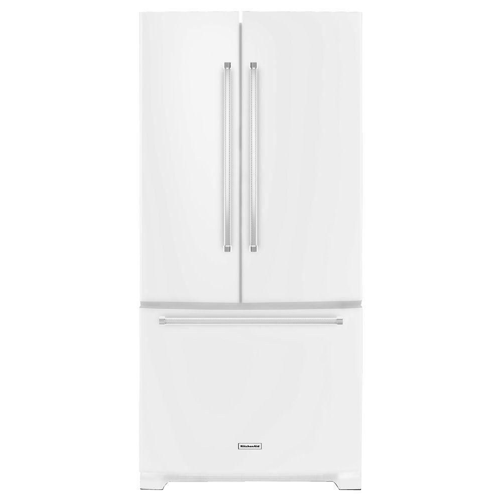 Kitchenaid 22 1 Cu Ft French Door Refrigerator With Ice: KitchenAid 22.1 Cu. Ft. Standard-Depth French Door Refrigerator With Interior Dispenser In White