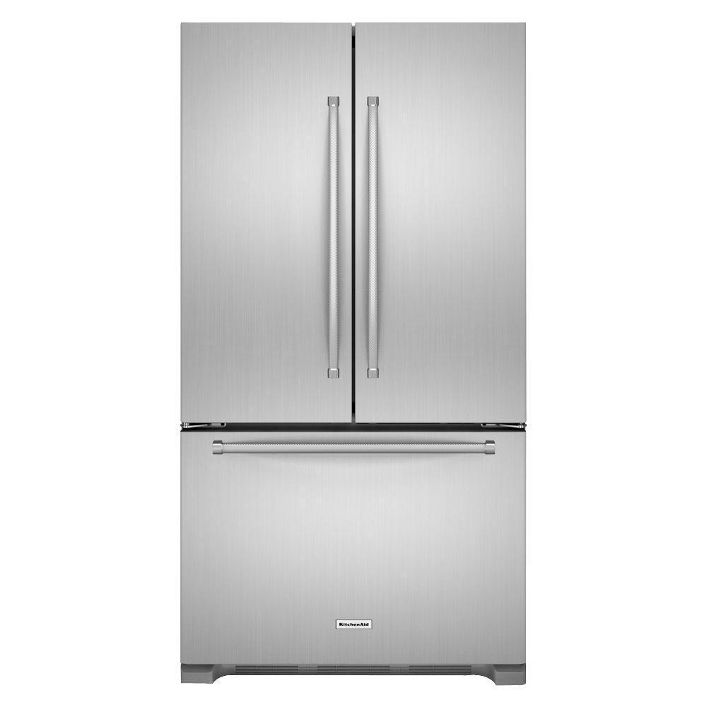 25.2 cu. ft. Standard-Depth French Door Refrigerator with Interior Dispenser in Stainless Steel