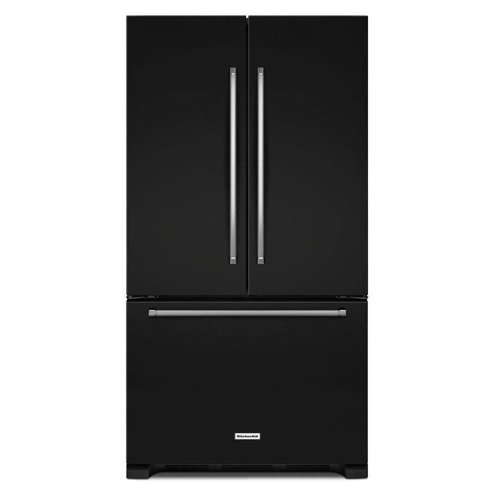 KitchenAid 20 cu. ft. Counter-Depth French Door Refrigerator with Interior Dispenser in Black - ENERGY STAR®