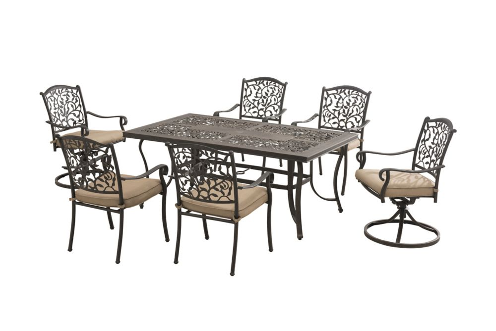 Louise 7-Piece Patio Dining Set with Round Table