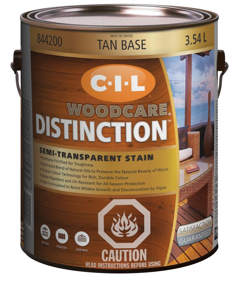 CIL Woodcare Distinction Semi-Transparent Stain, Tan Base, 3.54 L