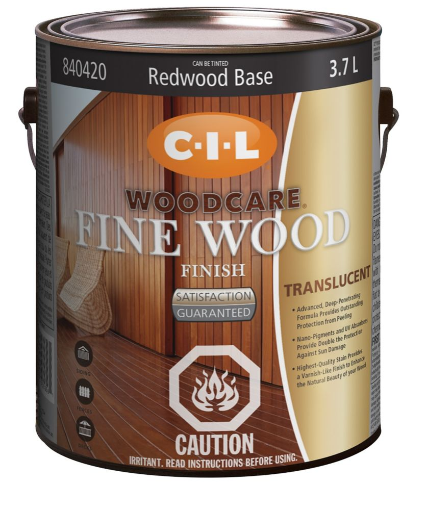 CIL Woodcare Exterior Fine Wood Finish - Translucent, Redwood Base, 3.7 L